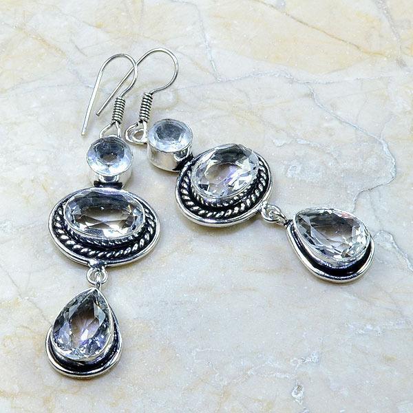 Tpz 175a boucles pendants oreilles topaze blanche cristal argent 925 vente achat