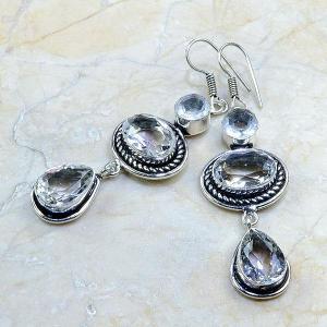 Tpz 175b boucles pendants oreilles topaze blanche cristal argent 925 vente achat