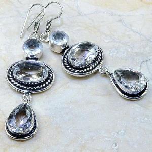 Tpz 175c boucles pendants oreilles topaze blanche cristal argent 925 vente achat