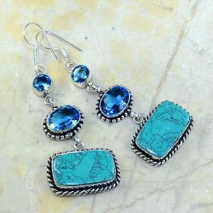 Tpz 177a boucles pendants oreilles turquoise topaze bleue argent 925 vente achat