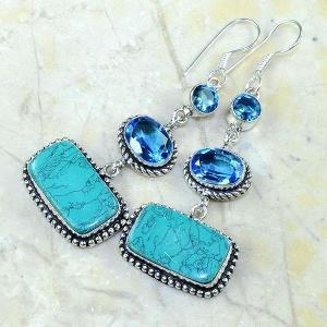 Tpz 177b boucles pendants oreilles turquoise topaze bleue argent 925 vente achat
