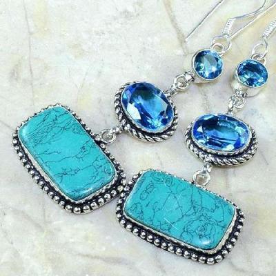 Tpz 177c boucles pendants oreilles turquoise topaze bleue argent 925 vente achat