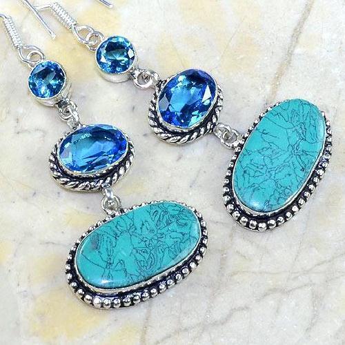 Tpz 178c boucles pendants oreilles turquoise topaze bleue argent 925 vente achat