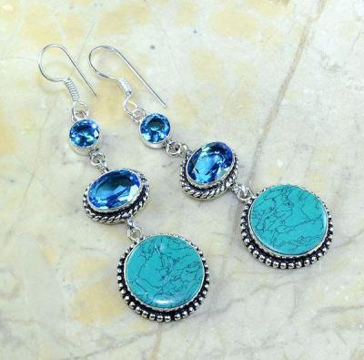 Tpz 179a boucles pendants oreilles turquoise topaze bleue argent 925 vente achat