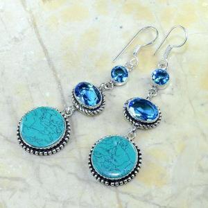 Tpz 179b boucles pendants oreilles turquoise topaze bleue argent 925 vente achat