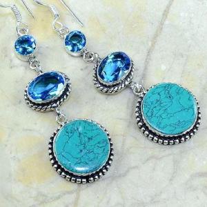 Tpz 179c boucles pendants oreilles turquoise topaze bleue argent 925 vente achat