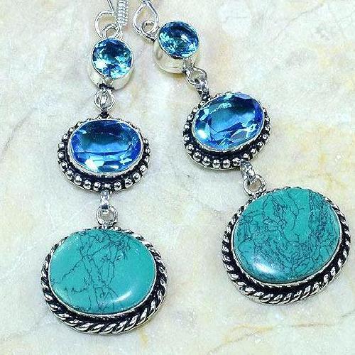 Tpz 181c boucles pendants oreilles turquoise topaze bleue argent 925 vente achat