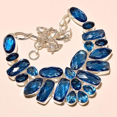 Tpz 183e collier parure sautoir topaze bleue suisse bijou argent 925 vente achat