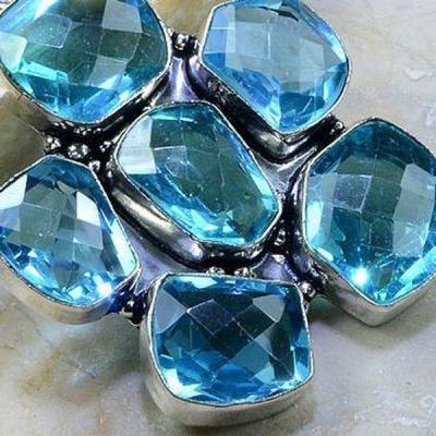 Tpz 184c pendentif pierre topaze bleue gemme taille bijou argent 925 vente achat