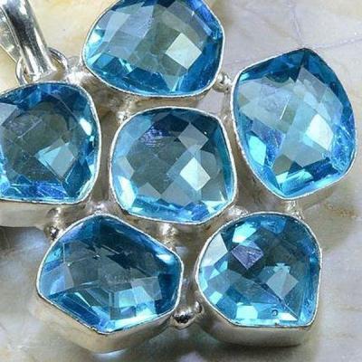 Tpz 186c pendentif pierre topaze bleue gemme taille bijou argent 925 vente achat