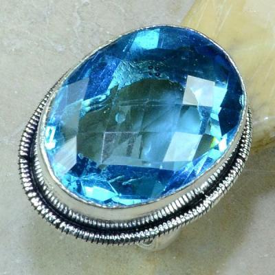 Tpz 187a bague t58 topaze bleu suisse bijoux argent 925 vente achat