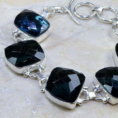Tpz 191b bracelet topaze iolite bleue bijou argent 925 vente achat