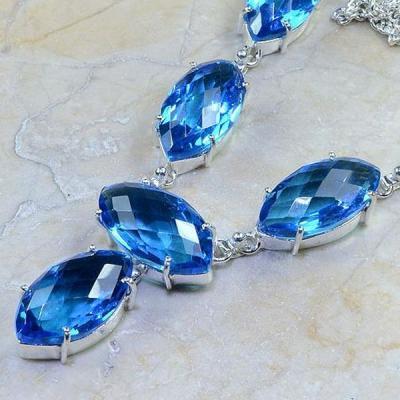 Tpz 192b collier parure sautoir topaze bleue suisse bijou argent 925 vente achat