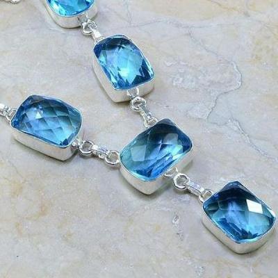 Tpz 193c collier parure sautoir topaze bleue suisse bijou argent 925 vente achat