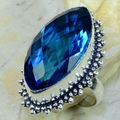 Tpz 195a bague t61 topaze bleue iolite bijoux argent 925 vente achat 1