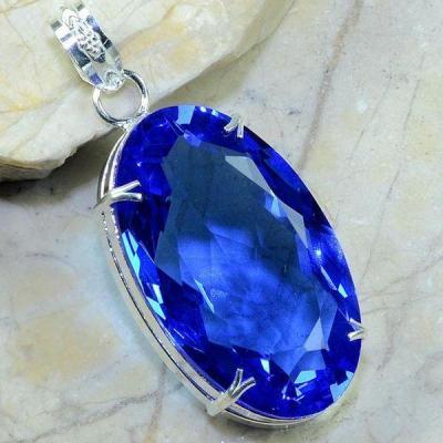 Tpz 199a pendentif pierre topaze bleu suisse gemme taille bijou argent 925 vente achat