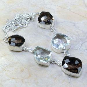 Tpz 204a collier parure sautoir topaze cristal blanche quartz fume bijou argent 925 vente achat