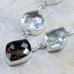 Tpz 204b collier parure sautoir topaze cristal blanche quartz fume bijou argent 925 vente achat
