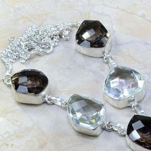 Tpz 204c collier parure sautoir topaze cristal blanche quartz fume bijou argent 925 vente achat