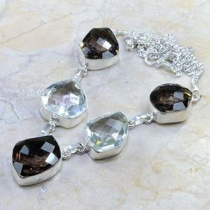 Tpz 204d collier parure sautoir topaze cristal blanche quartz fume bijou argent 925 vente achat