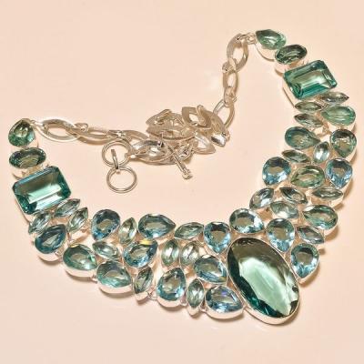Tpz 212a collier parure sautoir topaze bleue apatite bijou argent 925 vente achat