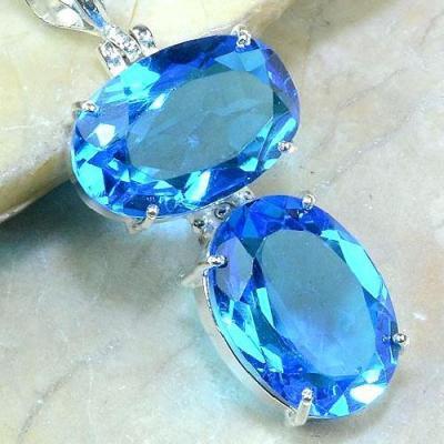 Tpz 216c pendentif pierre topaze bleue gemme taille bijou argent 925 vente achat