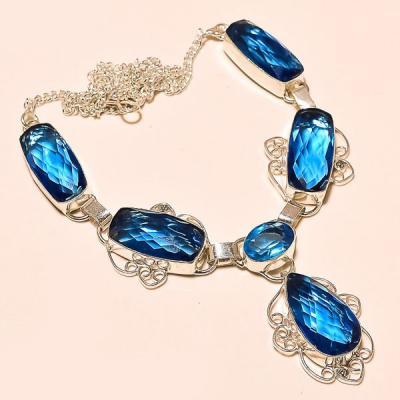 Tpz 219a collier parure sautoir topaze bleue iolite apatite bijou argent 925 vente achat