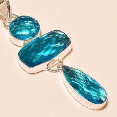 Tpz 220c pendentif pierre topaze bleue suisse gemme taille bijou argent 925 vente achat