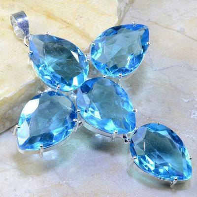 Tpz 223a croix pendentif pierre topaze bleue suisse gemme taille bijou argent 925 vente achat