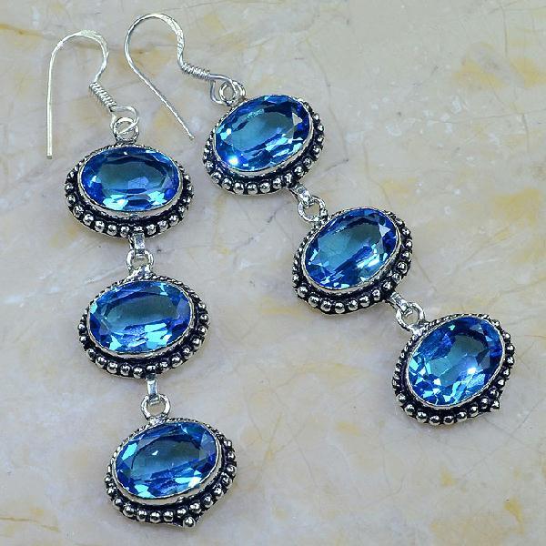 Tpz 225a boucles oreilles pendant topaze bleue iolite apatite bijou argent 925 vente achat