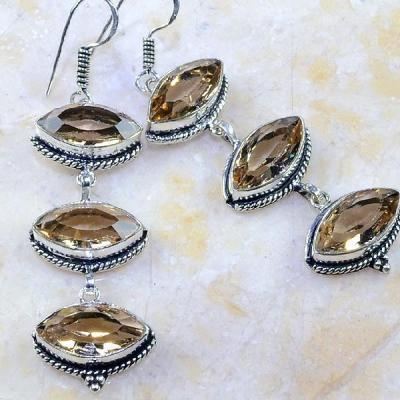 Tpz 231c boucles pendants oreilles pierre topaze champagne taille bijou argent 925 vente achat