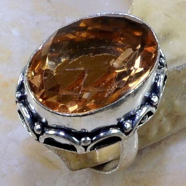 Tpz 232a bague t56 topaze champagne bijoux renaissance medievale argent 925 vente achat