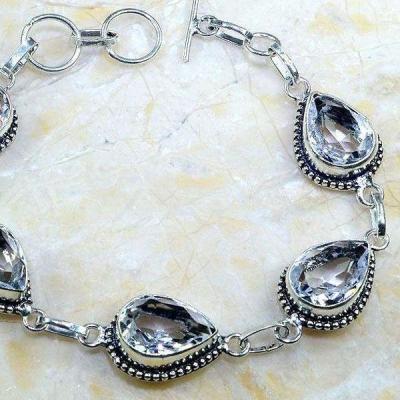 Tpz 237c bracelet topaze blanche cristal bijou argent 925 vente achat