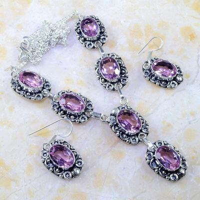 Tpz 238a parure boucles oreilles collier sautoir topaze rose bijou argent 925 vente achat