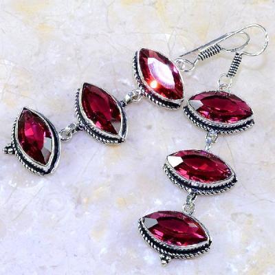 Tpz 240a boucles pendants oreilles topaze rouge sang gemme taille bijou argent 925 vente achat