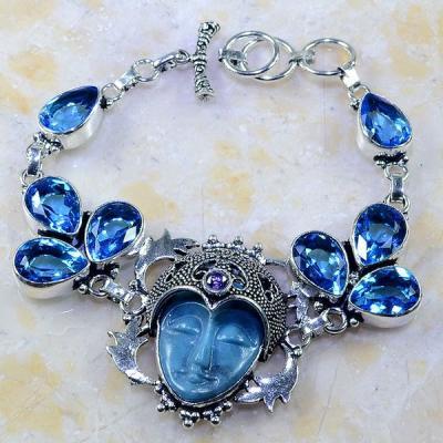 Tpz 250a bracelet bouddha jaspe topaze iolite bleue esoterique bijou argent 925 vente achat