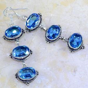 Tpz 256a boucles pendants oreilles topaze bleue suisse argent 925 vente achat