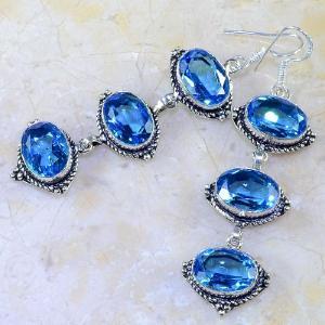 Tpz 256b boucles pendants oreilles topaze bleue suisse argent 925 vente achat
