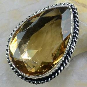 Tpz 258a bague t60 topaze imperiale champagne pierre taillee bijoux argent 925 vente achat