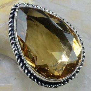 Tpz 258b bague t60 topaze imperiale champagne pierre taillee bijoux argent 925 vente achat
