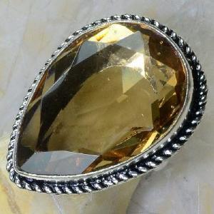 Tpz 258c bague t60 topaze imperiale champagne pierre taillee bijoux argent 925 vente achat