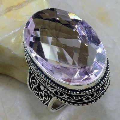 Tpz 261b bague t64 topaze rose pierre taillee bijoux renaissance argent 925 vente achat 1