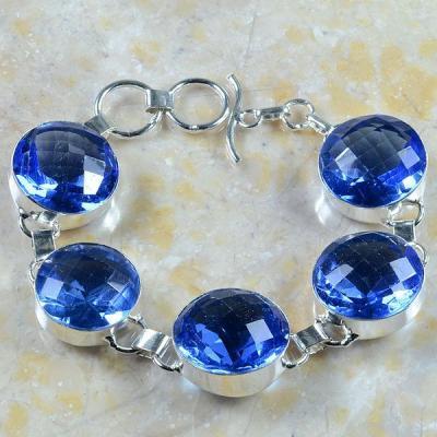Tpz 263a bracelet topaze iolite bleue bijou argent 925 vente achat 1