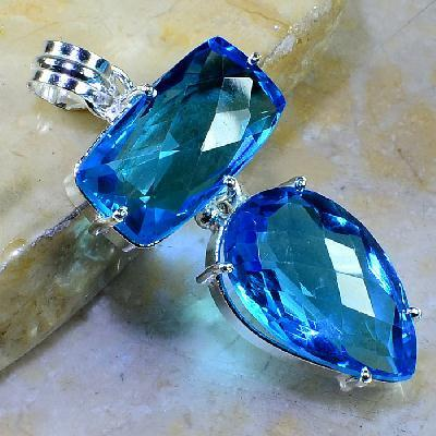 Tpz 266a pendentif pierre topaze bleue gemme taille lithotherapie bijou argent 925 vente achat