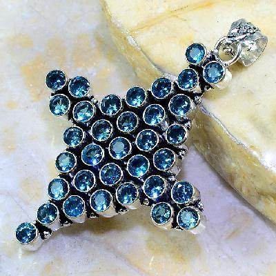Tpz 267c crucifix croix topaze bleu gemme taille lithotherapie bijou argent 925 vente achat