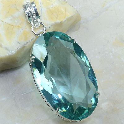 Tpz 269a pendentif pierre topaze bleu ciel gemme taille lithotherapie bijou argent 925 vente achat