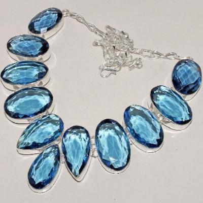 Tpz 271a collier parure sautoir topaze bleue iolite apatite bijou argent 925 vente achat