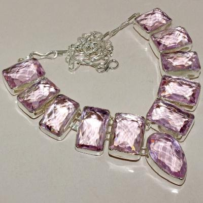 Tpz 272a collier parure sautoir topaze rose pink bijou argent 925 vente achat