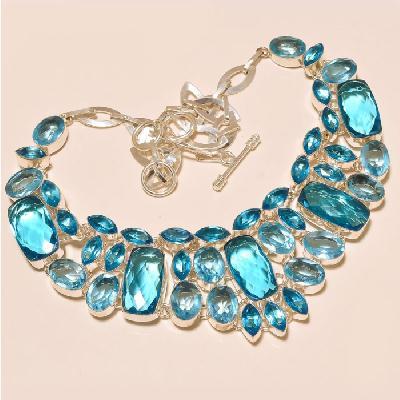 Tpz 273a collier parure sautoir topaze bleue suisse bijou argent 925 vente achat