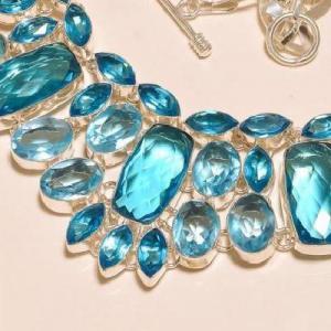 Tpz 273b collier parure sautoir topaze bleue suisse bijou argent 925 vente achat